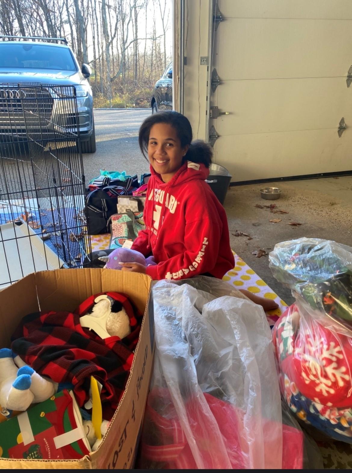 Madison Middle School 2020 Girl in Red Sweatshirt